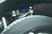Adjust the toe-in curve via clamping nut 'A' and bolt 'B'