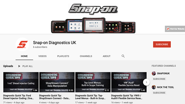 Snap-on launches new YouTube channel